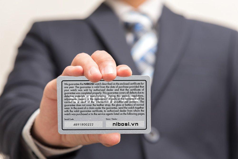 Mặt sau thẻ bảo hành chính hãng NIBOSI Việt Nam